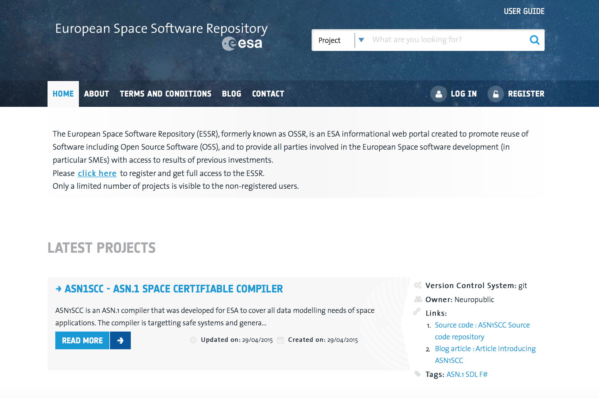 European Space Software Repository_portal